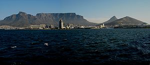 Table Mountain seen from Cape Town harbour's jetty