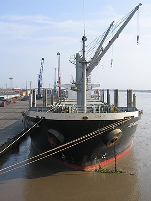 The IVS Hunter at the wharf. At 20,000 tons, H...