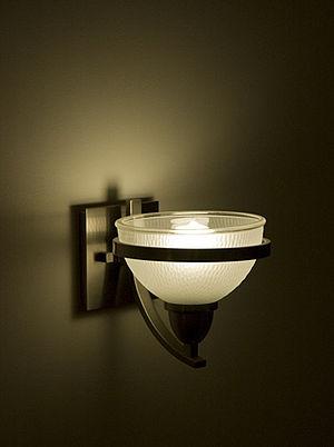 English: Energy efficient light fixture locate...